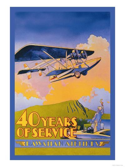 Hawaiian Airlines, 40 Years of Service-C^e^ White-Art Print