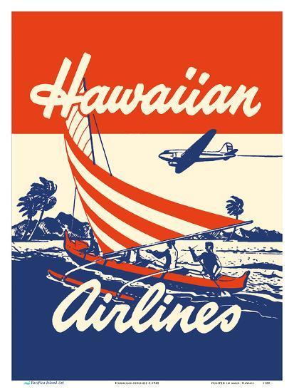 Hawaiian Airlines - Hawaiians in Outrigger Canoe (Wa�a)-Unknown-Art Print
