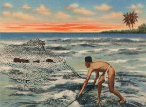 Hawaiian Fisherman (Lawaia) With Net