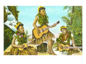 Hawaiian Hula Dancers with Guitar and Ukuleles