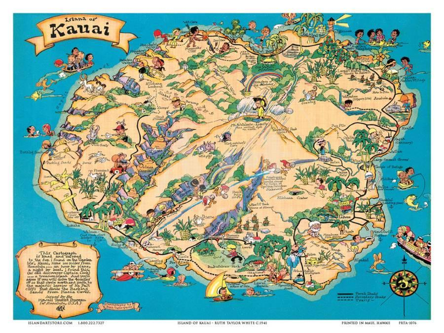 Hawaiian Island of Kauai Map - Hawaii Tourist Bureau Art Print by ...