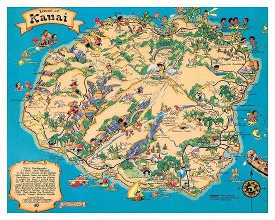 Hawaiian Island of Kauai Map - Hawaii Tourist Bureau Giclee Print by on molokai map, maui map, marshall islands hawaii map, kapaa hawaii map, kailua hawaii map, lanai map, kona hawaii map, kaunaoa bay hawaii map, oahu map, hilo hawaii map, lihue map, kahului hawaii map, hawaii road map, niihau hawaii map, poipu map, honolulu hawaii map, hawaii volcanoes national park map, nawiliwili hawaii map, anahulu river hawaii map, kalaupapa hawaii map,