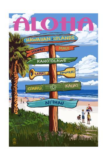 Hawaiian Islands - Destination Signpost-Lantern Press-Art Print