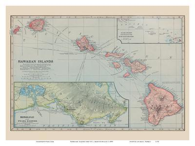 photo relating to Printable Map of Hawaiian Islands known as Hawaiian Islands Map - Pearl Harbor, Honolulu Artwork Print through J. Martin Miller