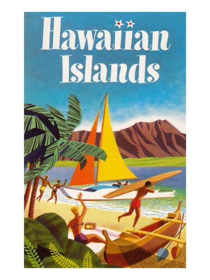 Hawaiian Islands Poster--Premium Giclee Print