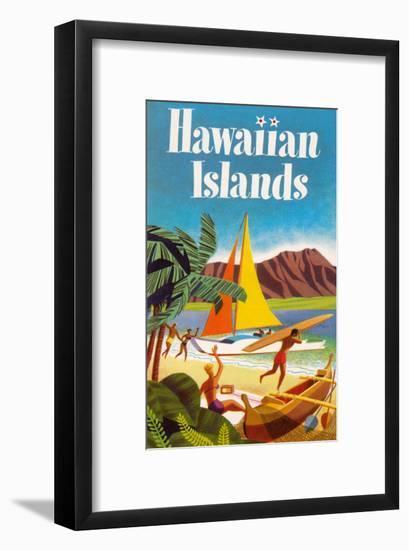 Hawaiian Islands Poster--Framed Art Print