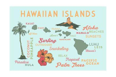 Hawaiian Islands - Typography and Icons-Lantern Press-Art Print