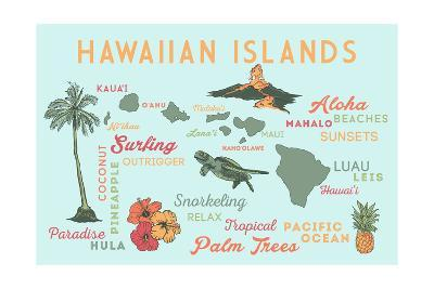 Hawaiian Islands (Version 2) - Typography and Icons-Lantern Press-Art Print
