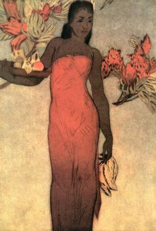 Hawaiian Lady with Fruit and Flowers