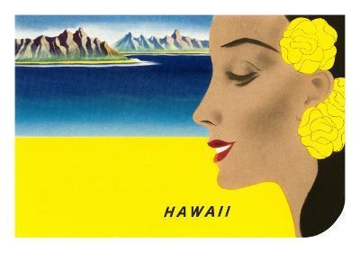 Hawaiian Lady with Islands, Graphics--Art Print