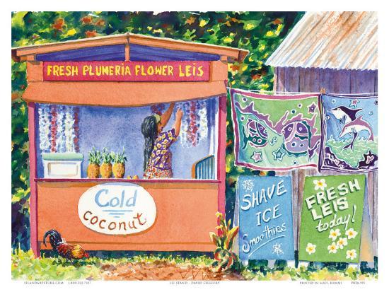Hawaiian Lei Stand-David Gregory-Art Print