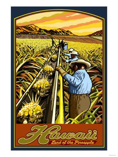 Hawaiian Pineapple Harvest-Lantern Press-Art Print