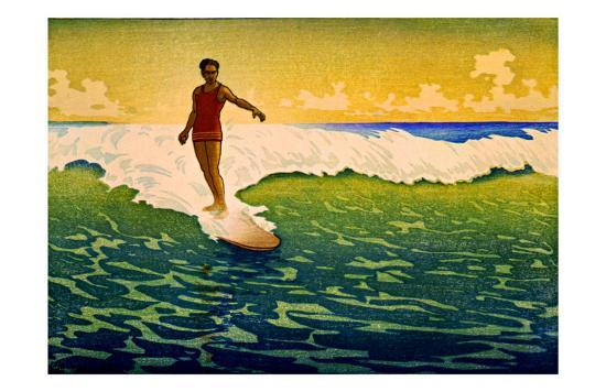 Hawaiian Surf Sunset--Giclee Print