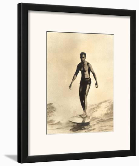 Hawaiian Surfer Duke Kahanamoku--Framed Art Print