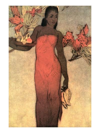 Hawaiian Woman with Fruit and Flowers--Art Print