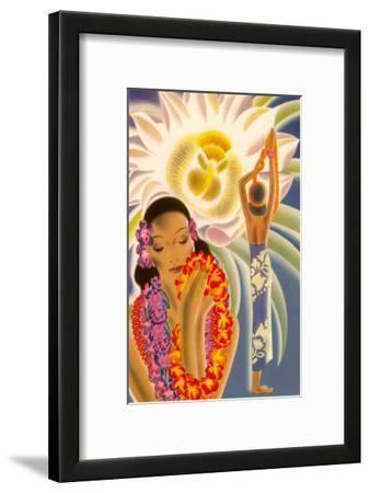 Hawaiian Woman with Passion Flower