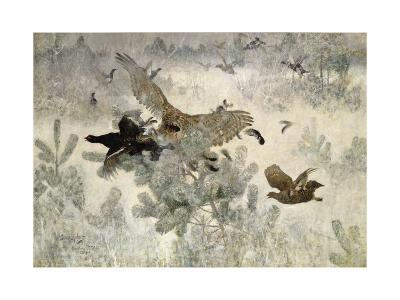 Hawk and Black Game, 1884-Bruno Andreas Liljefors-Giclee Print