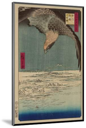 Hawk Flying Above a Snowy Landscape Along the Coastline.-Ando Hiroshige-Mounted Premium Giclee Print