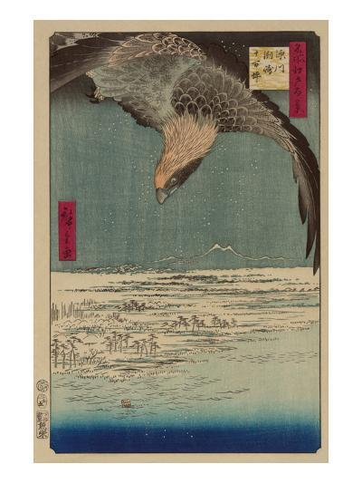 Hawk Flying Above a Snowy Landscape Along the Coastline.-Ando Hiroshige-Art Print