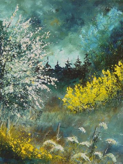 Hawthorne and brooms-Pol Ledent-Art Print