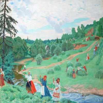 Hay Making, 1917-Boris Michaylovich Kustodiev-Giclee Print