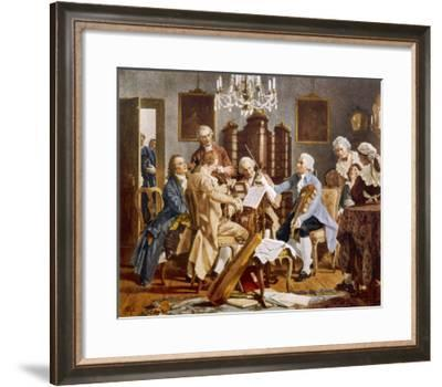 Haydn and Companions Perform a String Quartet at the Esterhazy Home Hungary--Framed Giclee Print