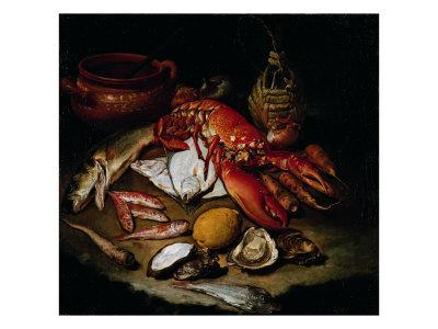 Still Life with Herring, Lobster, Turbots, Mullets, Oysters, Sea Hen, Lemon, and Brickwork Pot