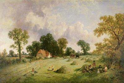 Haymaking in Hampshire-James Edwin Meadows-Giclee Print