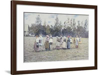 Haymaking in the Countryside Near Moscow, C.1900--Framed Giclee Print