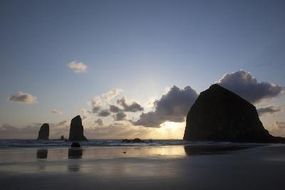Haystack Rock at Sunset, Cannon Beach, Oregon, USA-Jamie & Judy Wild-Photographic Print