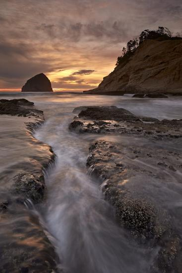 Haystack Rock at Sunset, Pacific City, Oregon, United States of America, North America-James-Photographic Print