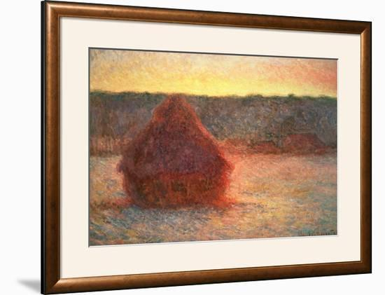 Haystacks at Sunset, Frosty Weather, 1891-Claude Monet-Framed Giclee Print