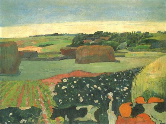 Haystacks in Brittany, 1890-Paul Gauguin-Giclee Print