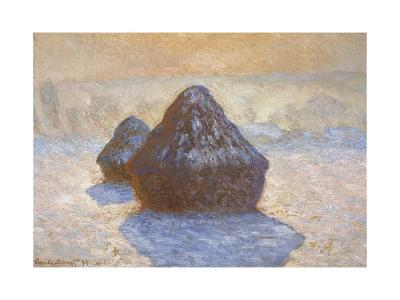 Haystacks - Snow Effect-Claude Monet-Giclee Print