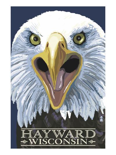 Hayward, Wisconsin - Eagle Up Close-Lantern Press-Art Print