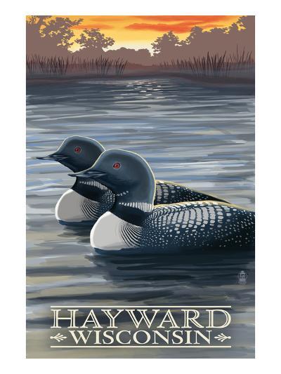 Hayward, Wisconsin - Loons-Lantern Press-Art Print