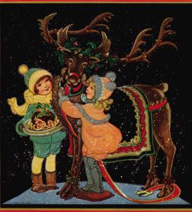 Dressing the Reindeer - Child Life, December 1925 by Hazel Frazee