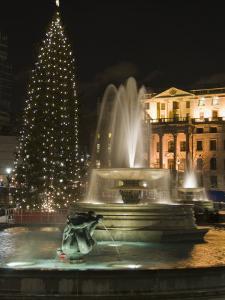Christmas Tree and Fountains in Trafalgar Square at Night, London by Hazel Stuart
