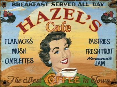 Hazels Café Vintage Wood Sign