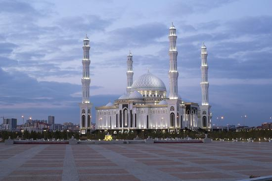 Hazrat Sultan Mosque, the Largest in Central Asia, at Dusk, Astana, Kazakhstan, Central Asia-Gavin Hellier-Photographic Print
