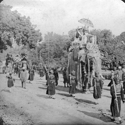 Lord and Lady Harding Riding an Elephant, India, 1913