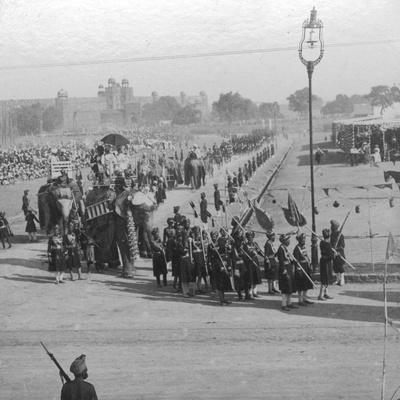 Maharajahs Rounding Jumma Muisjid, Delhi, India, 1913