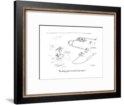 """He always gives me such a nice wave."" - New Yorker Cartoon-Michael Maslin-Framed Premium Giclee Print"
