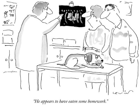 """""""He appears to have eaten some homework."""" - New Yorker Cartoon-Arnie Levin-Premium Giclee Print"""