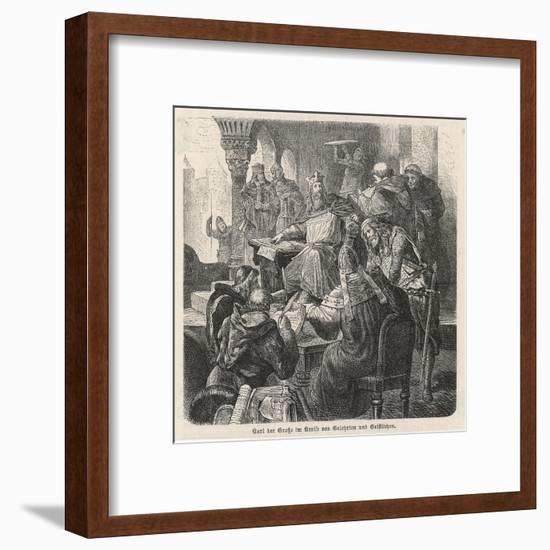 He Confers with Scholars and Clerics : He Is a Great Patron of Learning--Framed Giclee Print