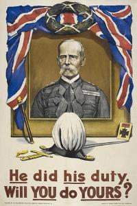 He Did His Duty. Will You Do Yours ?' a British Recruitment Poster