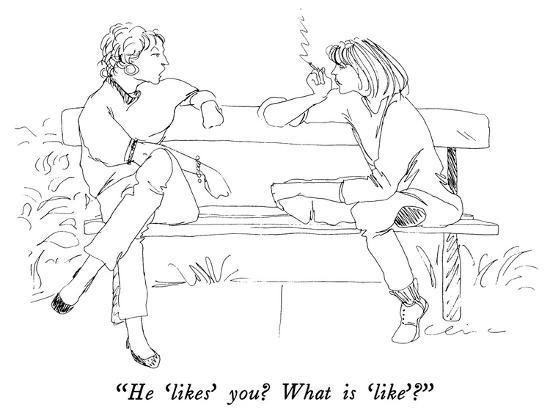 """He 'likes' you?  What is 'like'?"" - New Yorker Cartoon-Richard Cline-Premium Giclee Print"