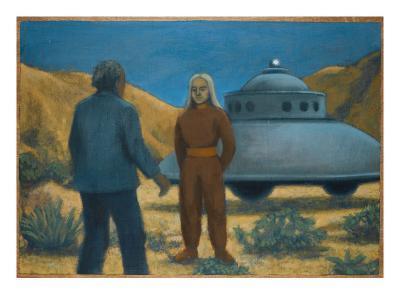 He Meets Orthon, a Venusian, at Desert Center, California-Michael Buhler-Giclee Print