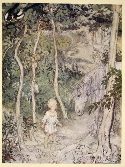 He Might Think, as a Stared on a Staring Horse, 'A Boy Cannot Wag His Tail to Keep the Flies Off'-Arthur Rackham-Giclee Print