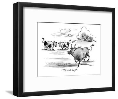 """He's all beef!"" - New Yorker Cartoon-Lee Lorenz-Framed Premium Giclee Print"
